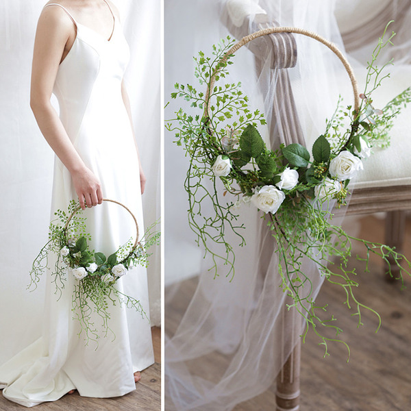 Charming Round Silk Flower/Rattan Straw/Silk linen Bridal Bouquets/Decorations -