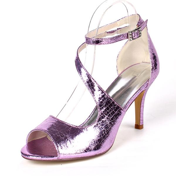 Женщины кожа Высокий тонкий каблук На каблуках Сандалии с пряжка Эластичная лента
