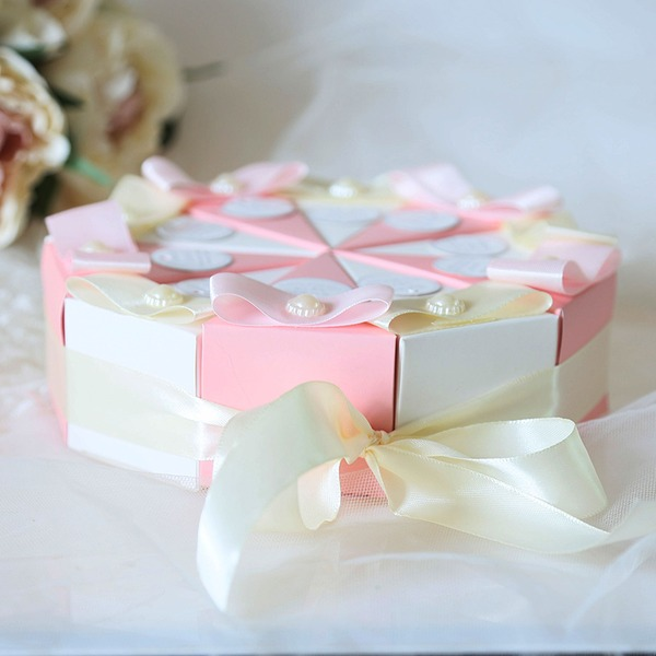 Forever Love Cubic Card Paper Favor Boxes With Flowers (Set of 10)
