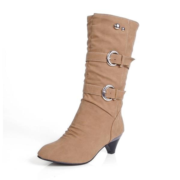 Naisten Keinonahasta Kitten heel Suljettu toe Kengät Knee saappaat Mid-calf saappaat Lumi saappaat jossa Niitti Solki kengät