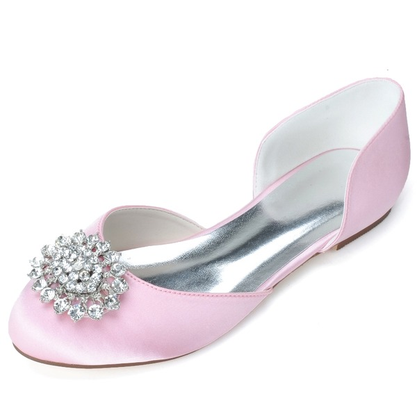 Women's Satin Flat Heel Closed Toe Flats With Imitation Pearl