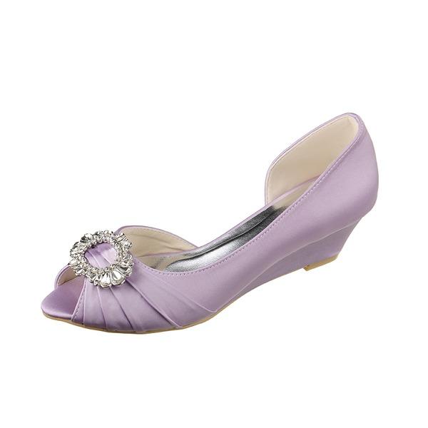Kadın Satin Dolgu Topuk Peep Toe Sandalet Takozlar Ile Yapay elmas
