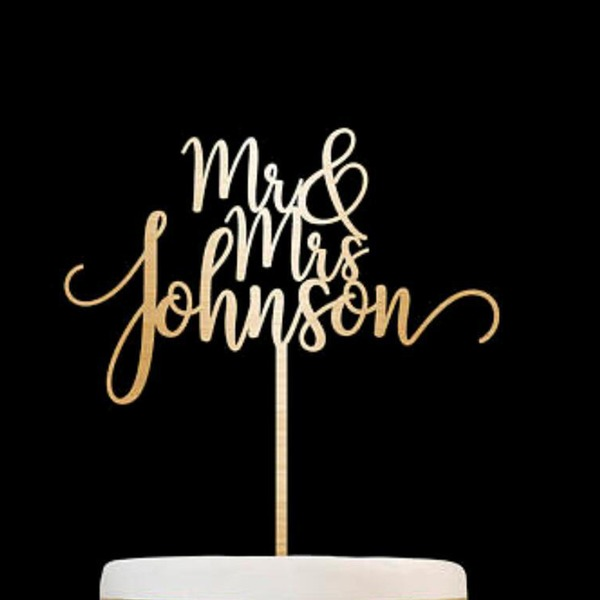 Personaliseret Mr & Mrs Træ Kage Topper