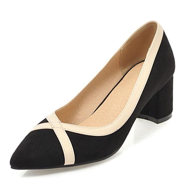 Frauen Veloursleder Stöckel Absatz Absatzschuhe Geschlossene Zehe mit Zweiteiliger Stoff Schuhe