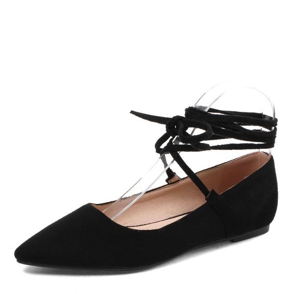 Vrouwen Suede Flat Heel Flats met Vastrijgen Elastiekje schoenen