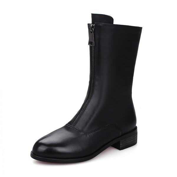 Femmes PU Talon bottier Bottes Bottes mi-mollets avec Zip chaussures