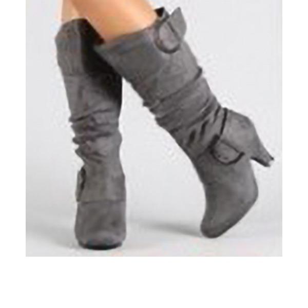 Kadın Süet Kalın Topuk Pompalar Bot Ile Fermuar ayakkabı