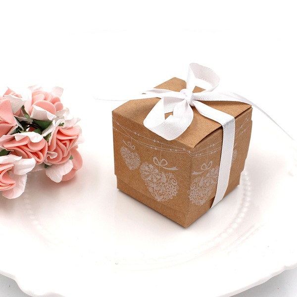 Sweet Love Cuboid Card Paper Favor Boxes With Ribbons (Set of 100)
