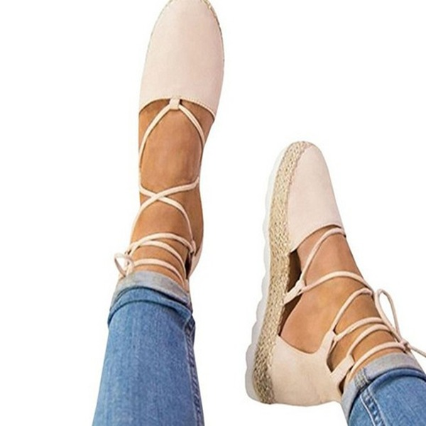 Donna Camoscio Zeppe Piattaforma Zeppe con Allacciato scarpe