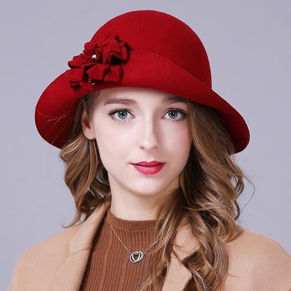 Damer' Glamorösa/Elegant/Enkel/Iögonfallande/Snygga/tappning utformar Ull med Blomma Diskett Hat
