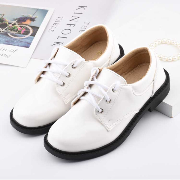 Unisex Round Toe Closed Toe Leatherette Low Heel Flats Sneakers & Athletic Flower Girl Shoes With Lace-up