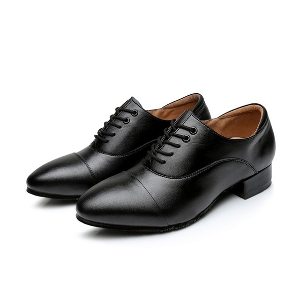 Men's Real Leather Flats Latin Ballroom Practice With Lace-up Dance Shoes