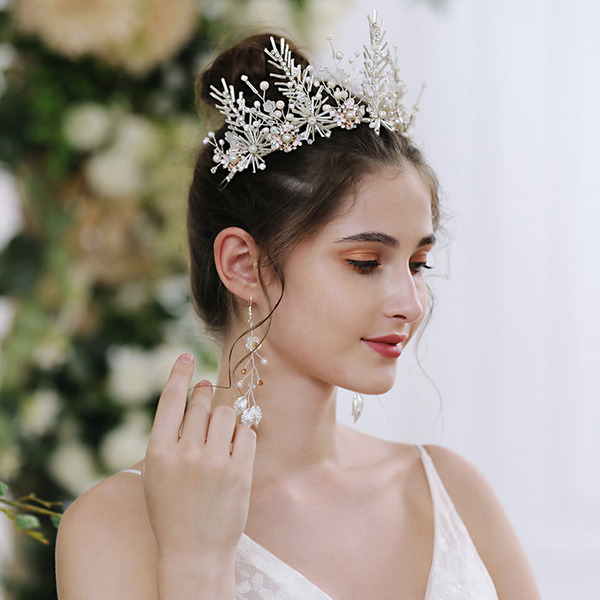 Dámy Nádherný Drahokamu Korunky S Venetian Pearl/Krystal