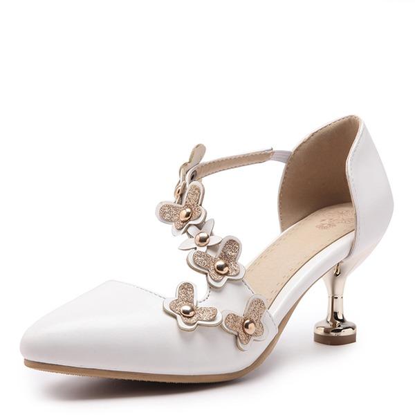 Frauen Kunstleder Stöckel Absatz Absatzschuhe Geschlossene Zehe mit Niete Blume Schuhe