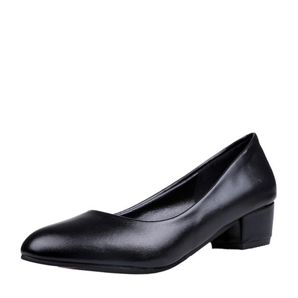 Kvinner Lær Lav Hæl Lukket Tå sko