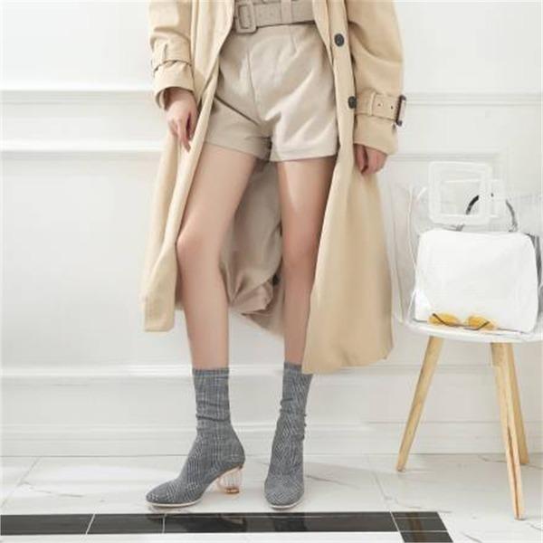 Mulheres Pano Salto robusto Bombas Botas Botas na panturrilha com Laço de cetim sapatos