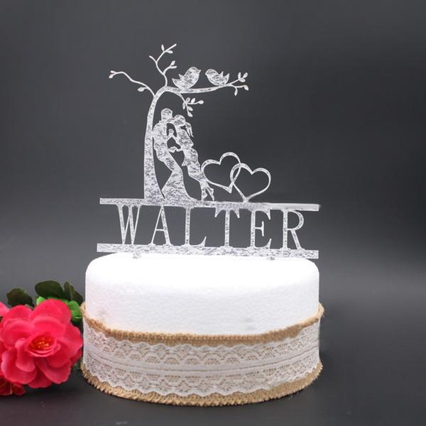 Personalizado Beijo do casal Acrílico Decorações de bolos