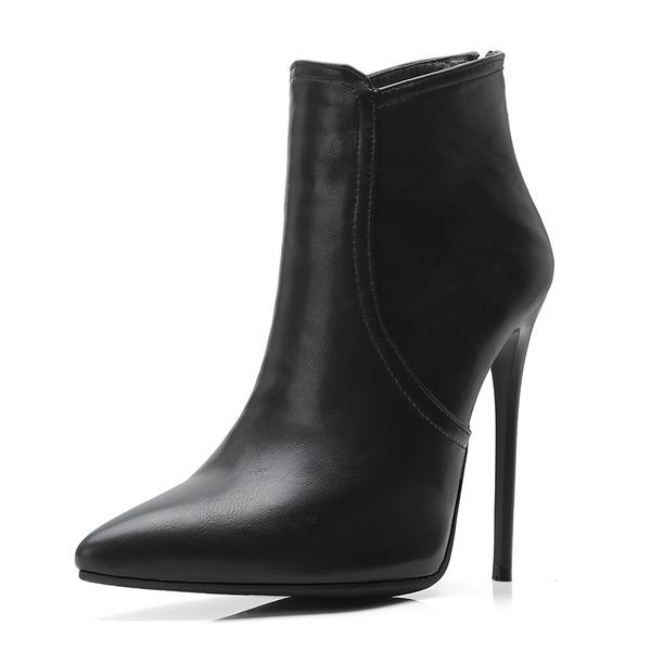 Frauen Kunstleder Stöckel Absatz Stiefel Stiefelette mit Schnalle Schuhe
