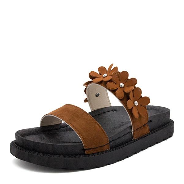 Frauen Veloursleder Flascher Absatz Sandalen Flache Schuhe Peep Toe mit Strass Blume Schuhe