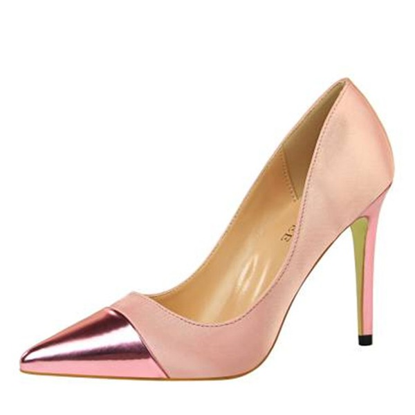 Women's Silk Stiletto Heel Pumps Closed Toe Mary Jane With Split Joint shoes