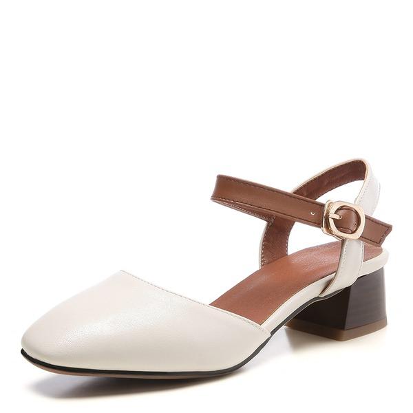 Frauen Kunstleder Stämmiger Absatz Sandalen Geschlossene Zehe Schuhe