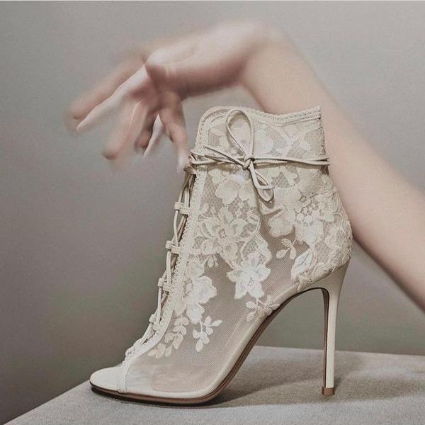 Frauen Mesh Spule Absatz Stiefel Peep-Toe mit Stich Spitzen Zuschnüren