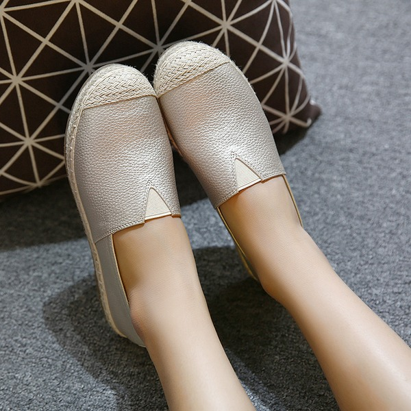 Frauen PU Niederiger Absatz Flache Schuhe Geschlossene Zehe mit Gummiband Schuhe