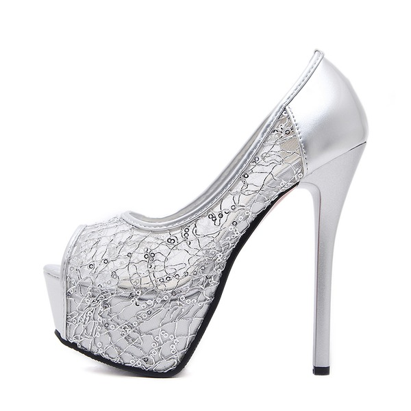 Vrouwen Rubber PVC Stiletto Heel Pumps Plateau Peep Toe met Gesplitste Stof schoenen