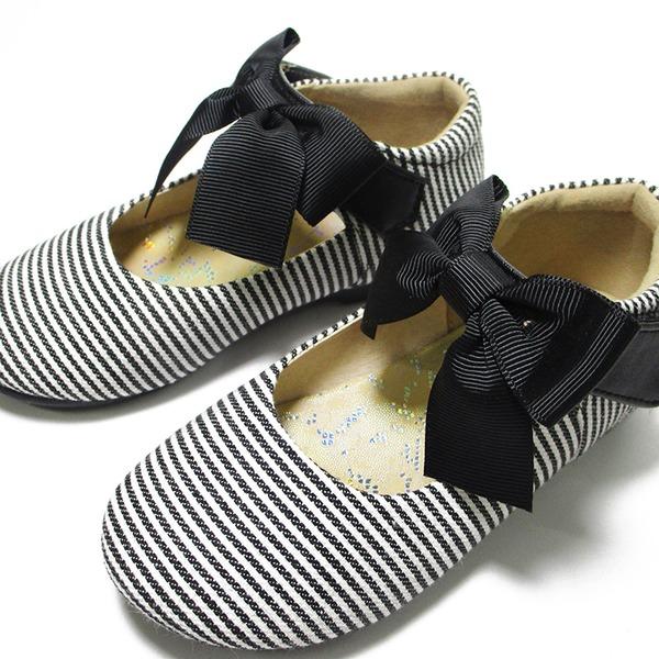 Unisexe similicuir talon plat bout rond Chaussures plates avec Bowknot Velcro