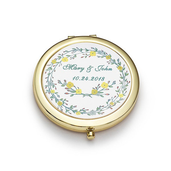 Personalized Circle Stainless Steel Compact Mirror