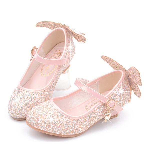 Jentas Round Toe Lukket Tå Leather Flower Girl Shoes med Bowknot