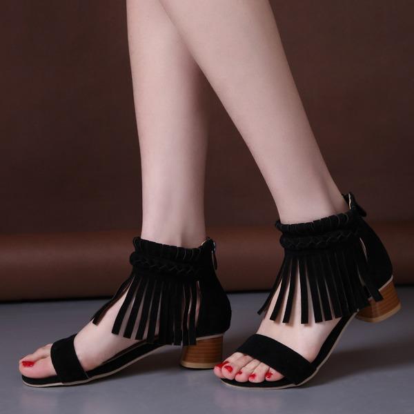 Женщины Замша Устойчивый каблук Сандалии На каблуках Открытый мыс с кисточкой обувь