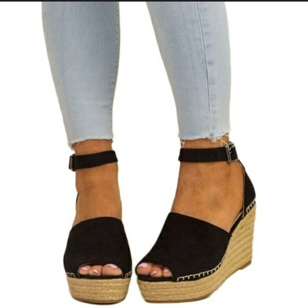Women's Suede Wedge Heel Sandals Pumps Wedges With Buckle shoes