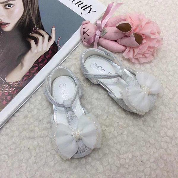 bébé de bout rond Ballet plat Dentelle talon plat Chaussures plates Chaussures de fille de fleur avec Bowknot Velcro