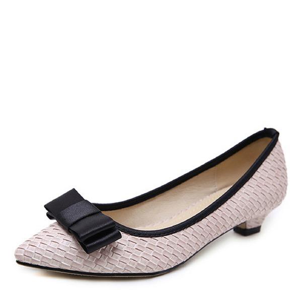 Vrouwen Kunstleer Low Heel Pumps Closed Toe schoenen