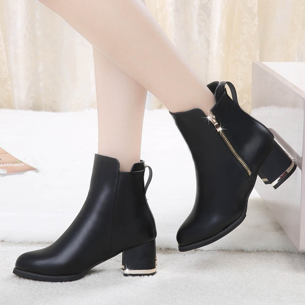 Women's Leatherette Chunky Heel Closed Toe Boots Ankle Boots With Zipper shoes