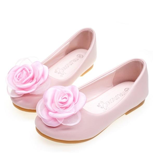 Round Toe Lukket Tå Leather Sparkling Glitter Microfiber Lær flat Heel Flate sko Flower Girl Shoes med Blomst
