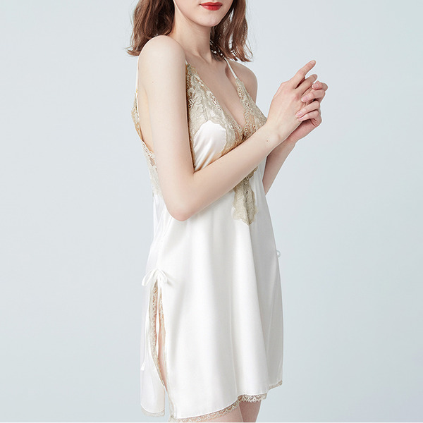 Bridal/Feminine Low-key SilK Backless Sleepwear/Bridal Lingerie