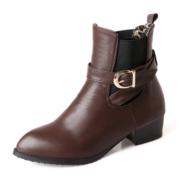 Frauen Kunstleder Niederiger Absatz Absatzschuhe Geschlossene Zehe Stiefel Stiefelette mit Schnalle Schuhe