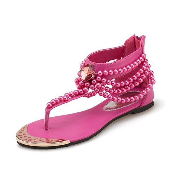 Koženka Placatý podpatek Sandály S Zdobení korálky obuv