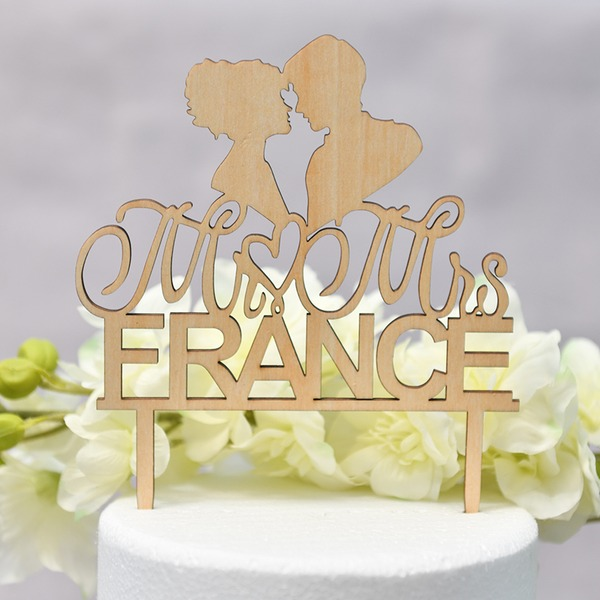 Personalized Heart/Mr. & Mrs./Love Is Sweet Wood Cake Topper (Sold in a single piece)