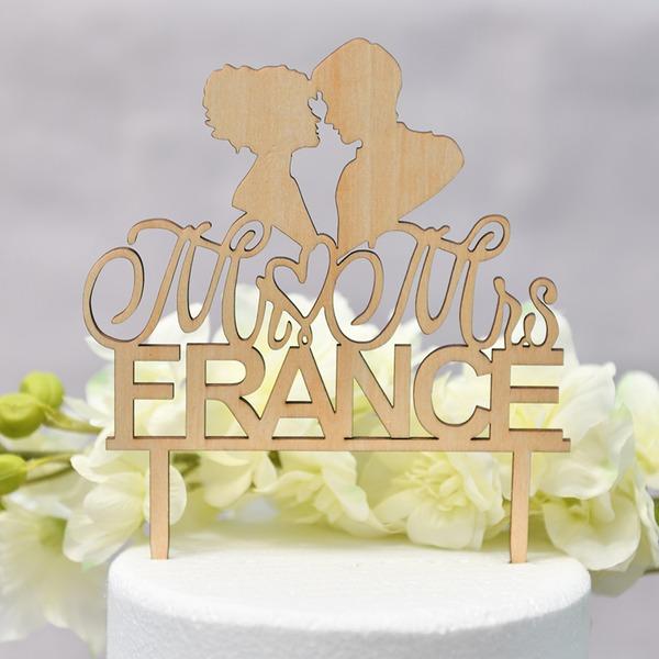 personnalisé Coeur/Mr & Mrs/l'amour est doux Bois Décoration pour gâteaux (Vendu dans une seule pièce)