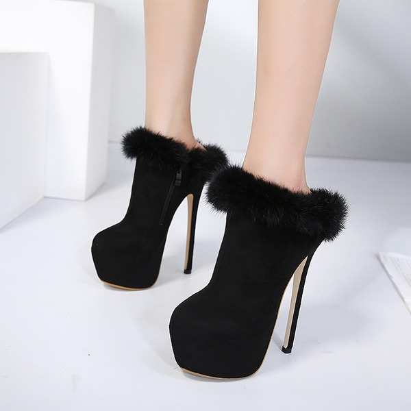 Women's Suede Stiletto Heel Pumps Platform Ankle Boots With Zipper Fur shoes