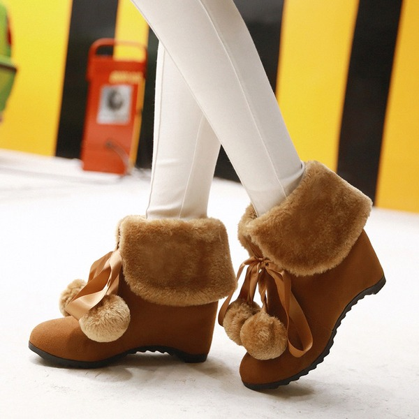 Women's Suede Wedge Heel Wedges Boots Ankle Boots With Bowknot shoes