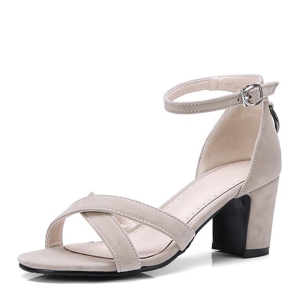 Donna Camoscio Tacco spesso Sandalo Stiletto Punta aperta con Fibbia scarpe