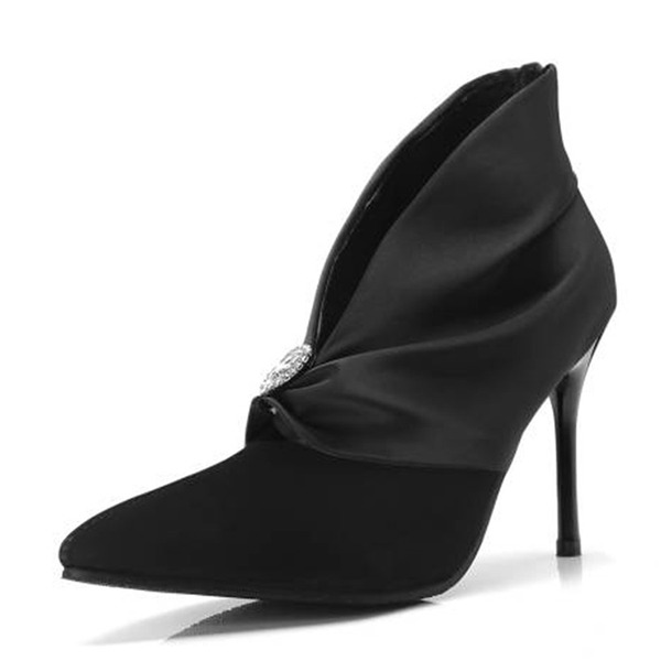 Mulheres Cetim Camurça Salto agulha Bombas Bota no tornozelo com Strass sapatos