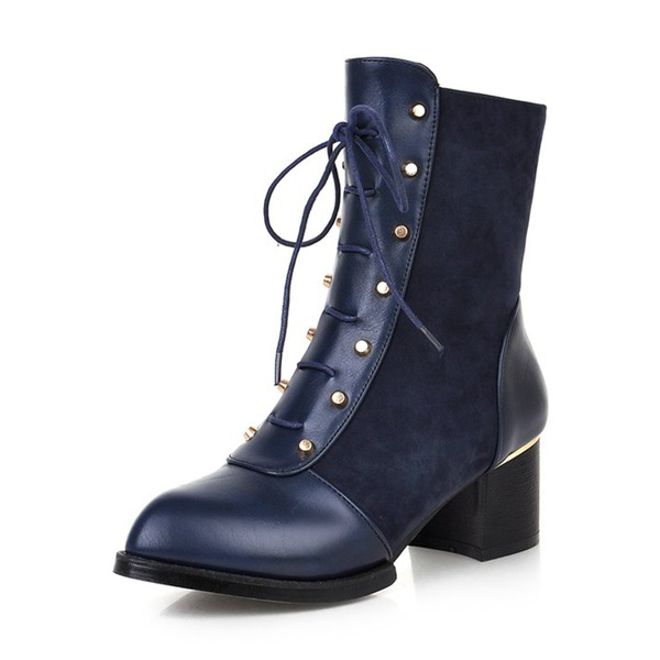 Women's Suede PU Chunky Heel Boots Mid-Calf Boots With Rivet Zipper Lace-up shoes
