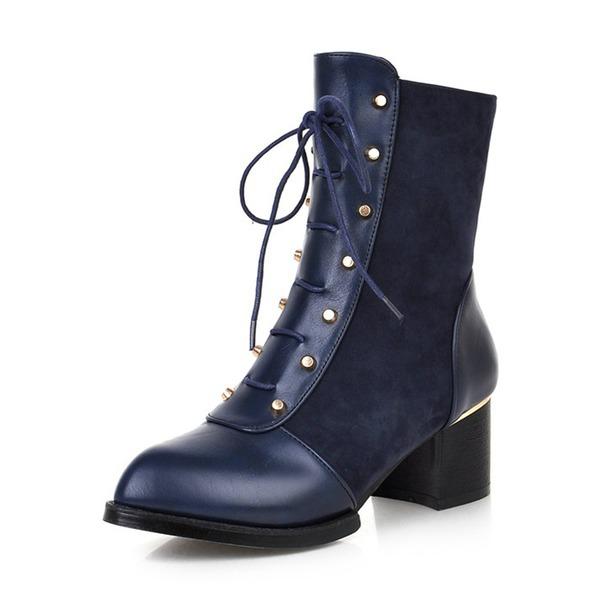 Naisten Mokkanahka PU Chunky heel Kengät Mid-calf saappaat jossa Niitti Vetoketju Nauhakenkä kengät