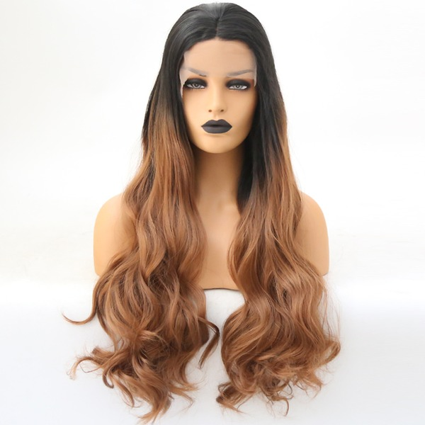 Deep Wave Syntetisk Lace Front Parykar
