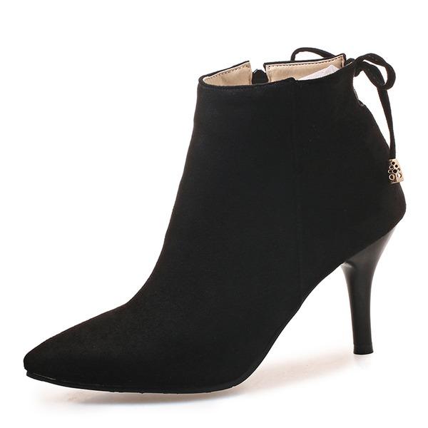 Kvinner Semsket Stiletto Hæl Pumps Støvler Mid Leggen Støvler med Blondér sko
